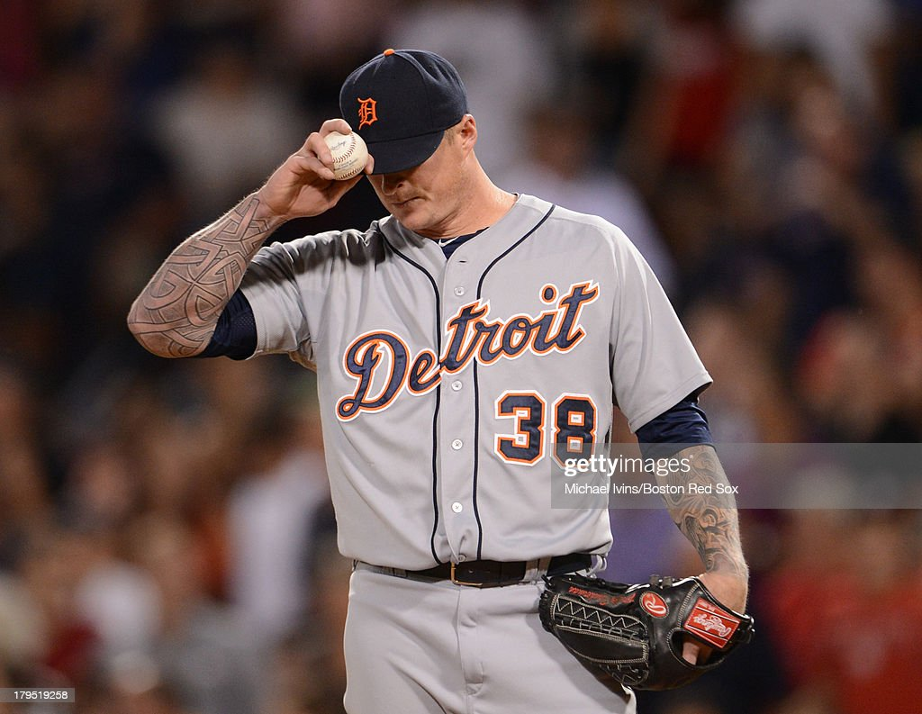 <a gi-track='captionPersonalityLinkClicked' href=/galleries/search?phrase=Jeremy+Bonderman&family=editorial&specificpeople=207182 ng-click='$event.stopPropagation()'>Jeremy Bonderman</a> #38 of the Detroit Tigers reacts after allowing a double to Will Middlebrooks #16 of the Boston Red Sox during the seventh inning on September 4, 2013 at Fenway Park in Boston Massachusetts.