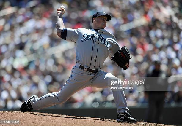 Jeremy Bonderman of the Seattle Mariners delivers a pitch against the Minnesota Twins during the first inning of the game on June 2 2013 at Target...