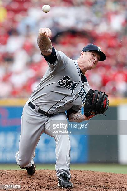 Jeremy Bonderman of the Seattle Mariners pitches against the Cincinnati Reds during the interleague game at Great American Ball Park on July 6 2013...