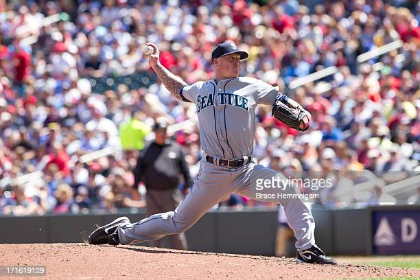 Jeremy Bonderman of the Seattle Mariners pitches against the Minnesota Twins on June 2 2013 at Target Field in Minneapolis Minnesota The Twins...