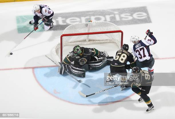 Jeremy Bracco of the Windsor Spitfires skates around the net for a scoring attempt at Tyler Parsons of the London Knights during Game One of the OHL...