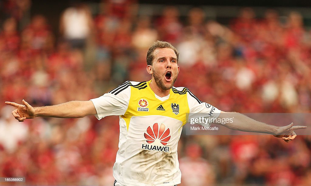 Jeremy Brockie of the Phoenix celebrates scoring a goal during the round two A-League match between the Western Sydney Wanderers and Wellington Phoenix at Parramatta Stadium on October 20, 2013 in Sydney, Australia.