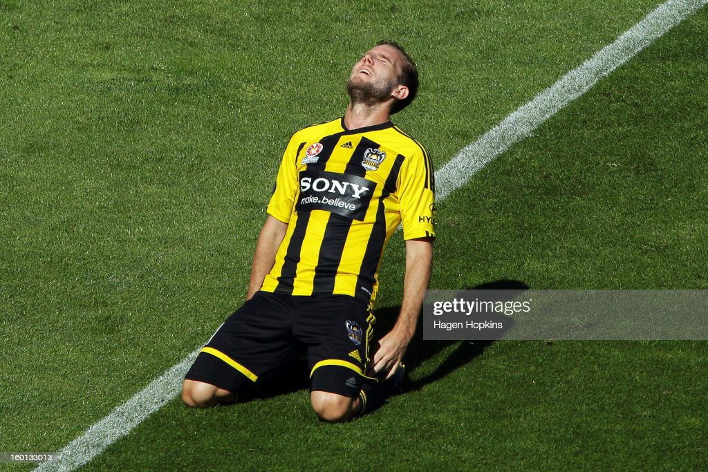 Jeremy Brockie of the Phoenix reacts after missing a shot at goal during the round 18 A-League match between the Wellington Phoenix and the Newcastle Jets at Westpac Stadium on January 27, 2013 in Wellington, New Zealand.