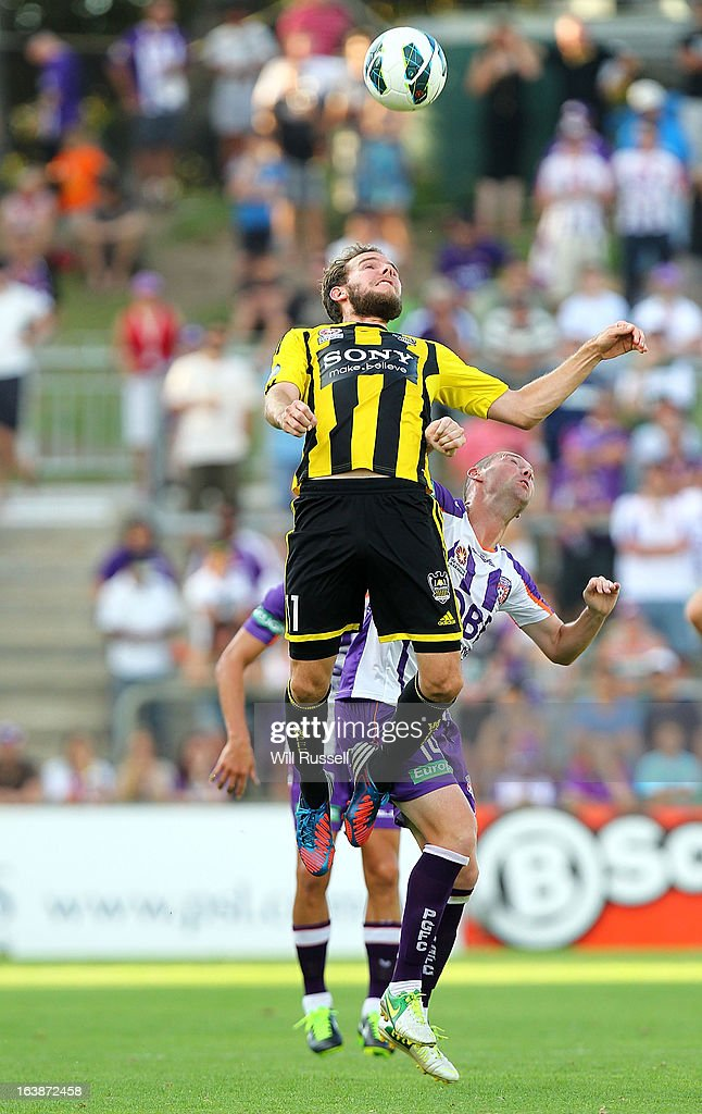 Jeremy Brockie of the Wellington Phoenix looks to head the ball during the round 25 A-League match between the Perth Glory and the Wellington Phoenix at nib Stadium on March 17, 2013 in Perth, Australia.
