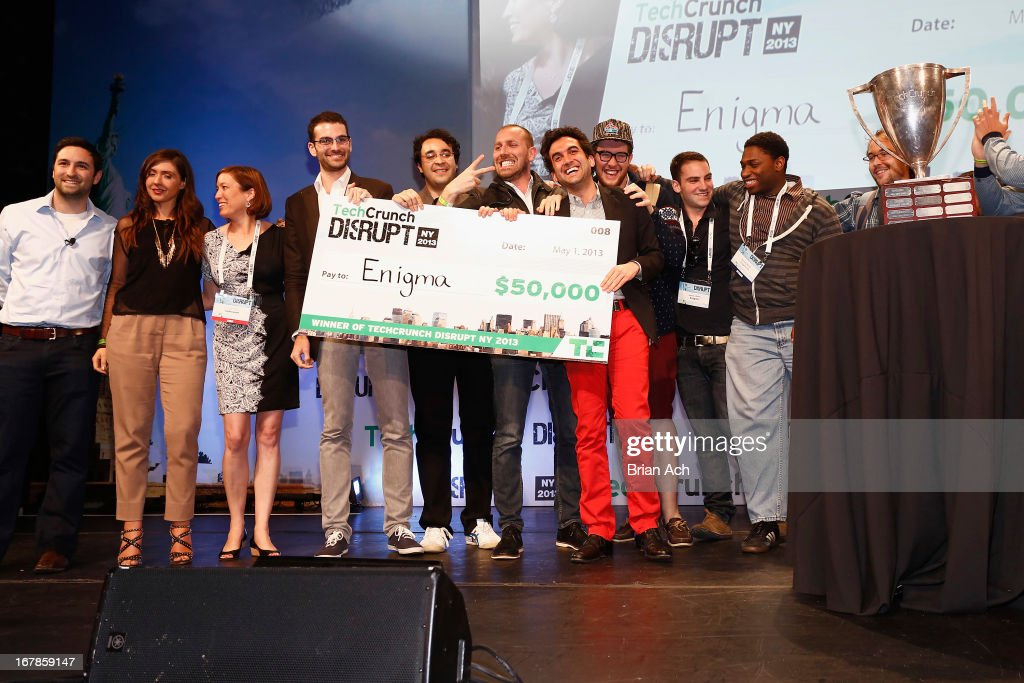 Jeremy Bronfman, Hicham Oudghiri, Marc DaCosta and Raphaël Guilleminot of the TechCrunch Startup Batlefield Winner Enigma celebrate onstage at TechCrunch Disrupt NY 2013 at The Manhattan Center on May 1, 2013 in New York City.