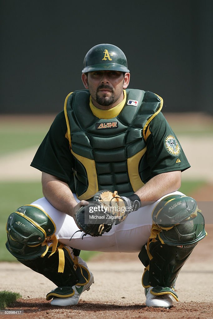 Jeremy Brown of the Oakland Athletics during the MLB game against the Chicago Cubs at Phoenix Municipal Stadium on March 3, 2005 in Phoenix, Arizona. The Cubs defeated the A's 2-1.