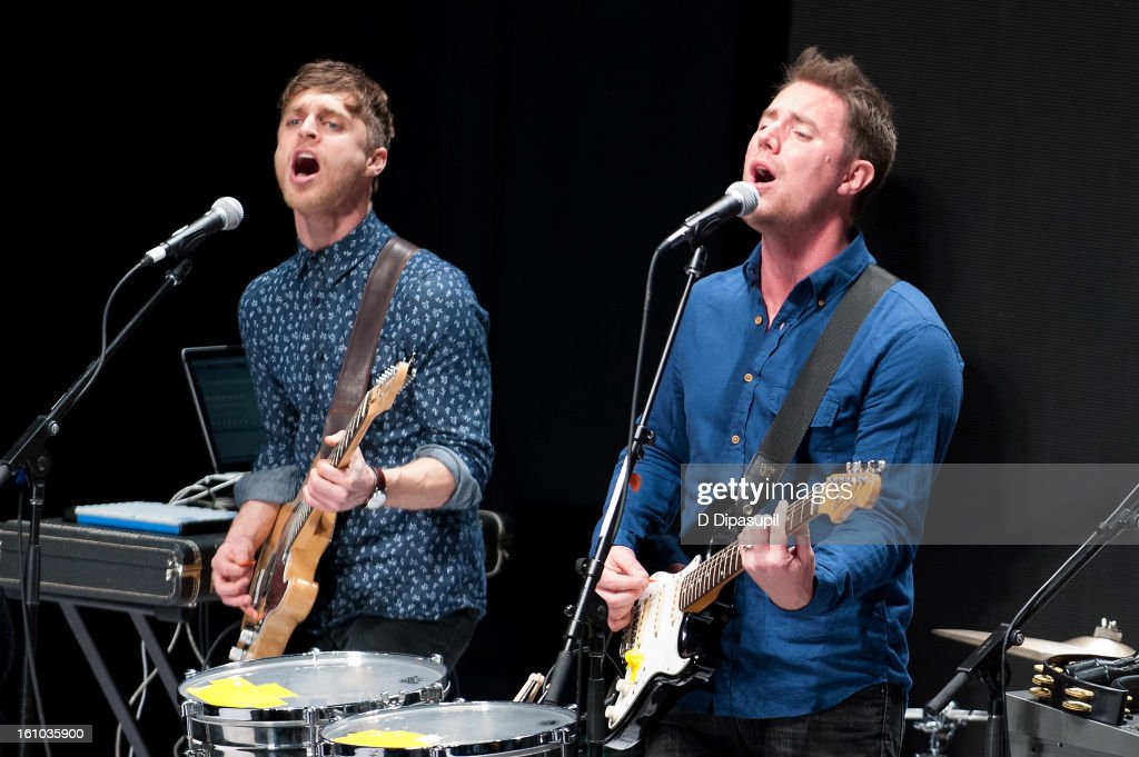 Jeremy Bullock (L) and Keegan DeWitt of Wild Cub perform during the Rebecca Minkoff Fall 2013 Mercedes-Benz Fashion Show at The Theater at Lincoln Center on February 8, 2013 in New York City.