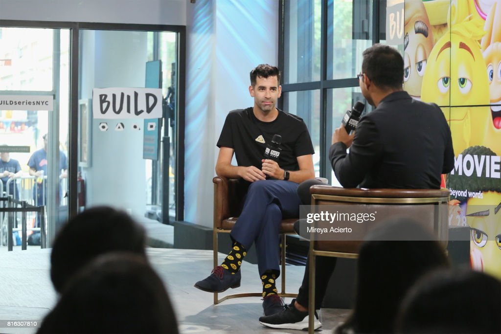 Jeremy Burge, (L) creator of World Emoji Day visits Build to discuss 'The Emoji Movie' at Build Studio on July 17, 2017 in New York City.