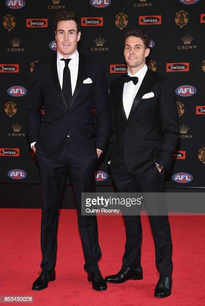 Jeremy Cameron and Josh Kelly of the Giants arrive arrives ahead of the 2017 Brownlow Medal at Crown Entertainment Complex on September 25 2017 in...