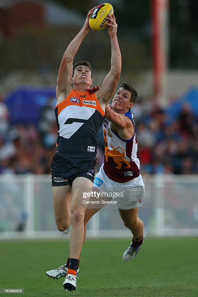Jeremy Cameron of the Giants catches the ball during the round two AFL NAB Cup match between the Greater Western Sydney Giants and the Brisbane Lions at the Robertson Oval in Wagga Wagga, Australia.