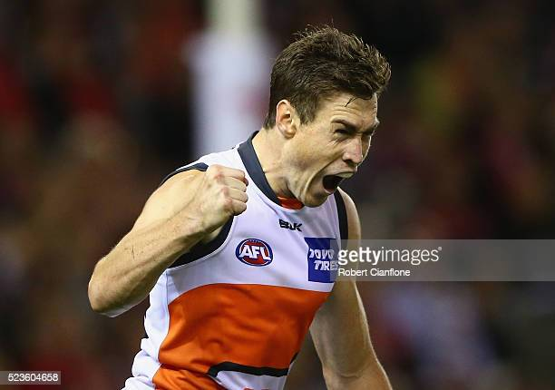 Jeremy Cameron of the Giants celebrates a goal during the round five AFL match between the St Kilda Saints and the Greater Western Sydney Giants at...