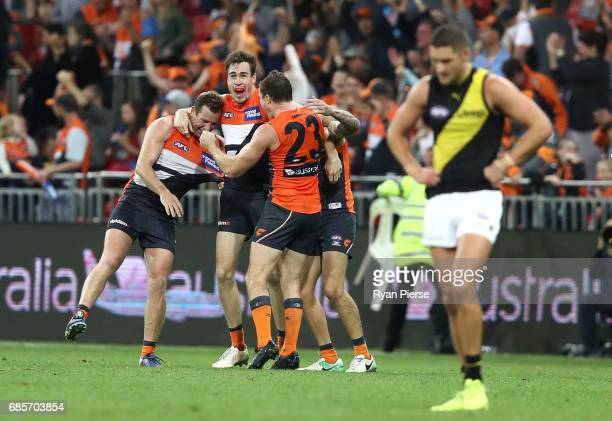 Jeremy Cameron of the Giants celebrates on the siren during the round nine AFL match between the Greater Western Sydney Giants and the Richmond...