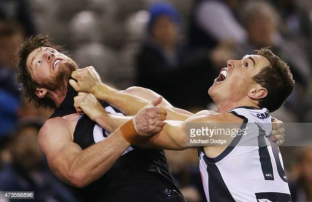 Jeremy Cameron of the Giants competes for the ball against Sam Rowe of the Blues during the round seven AFL match between the Carlton Blues and the...