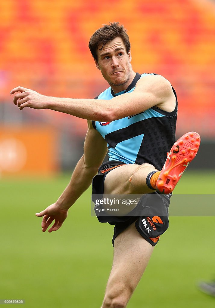 Jeremy Cameron of the Giants kicks during GWS Giants media and training session at Spotless Stadium on September 21, 2016 in Sydney, Australia.
