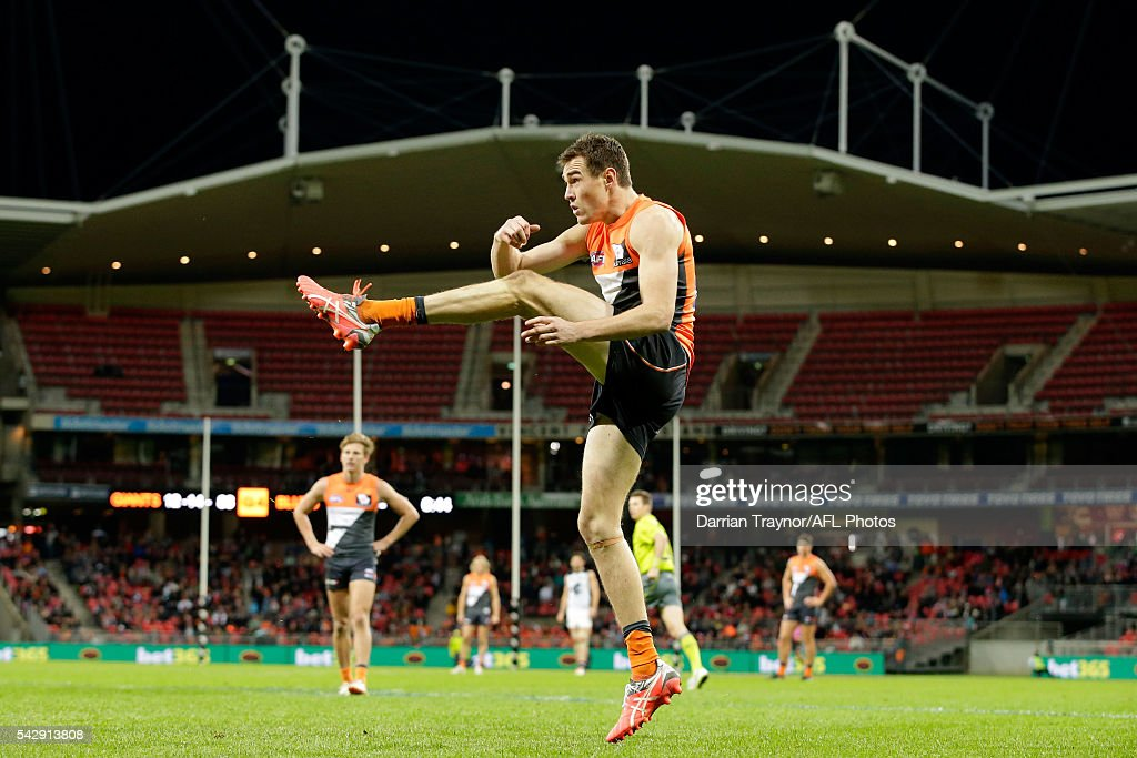 Jeremy Cameron of the Giants kicks for goal during the round 14 AFL match between the Greater Western Sydney Giants and the Carlton Blues at Spotless Stadium on June 25, 2016 in Sydney, Australia.