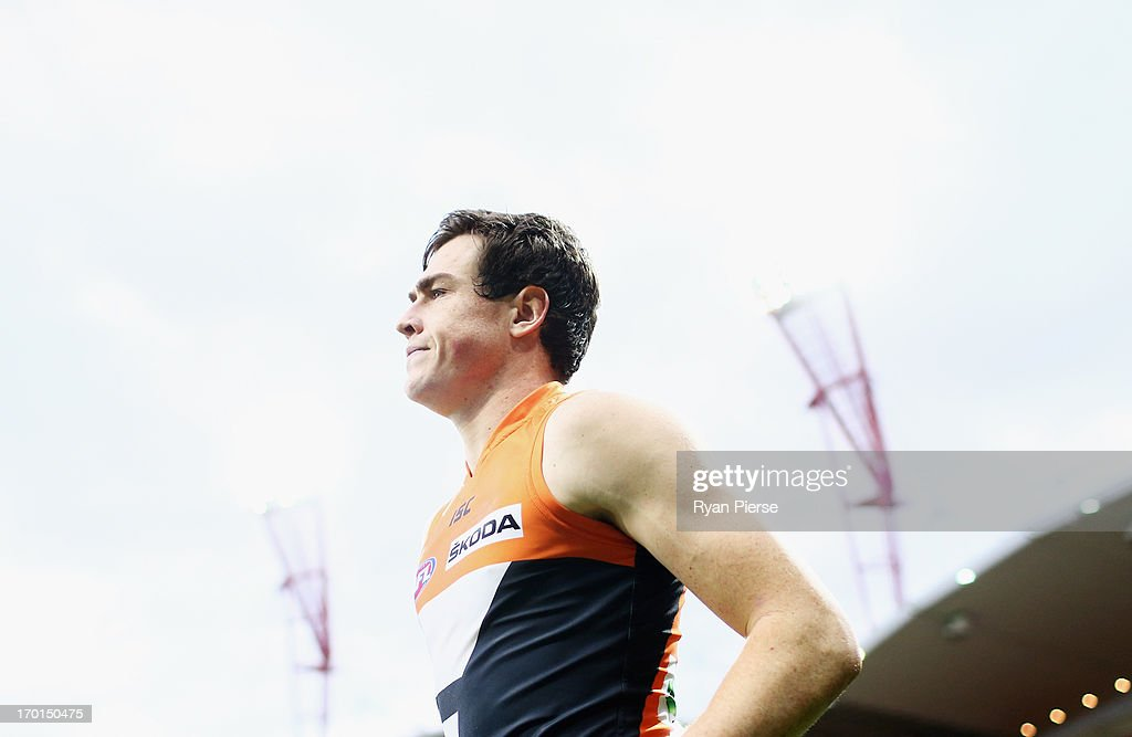Jeremy Cameron of the Giants leaves the ground after the round 11 AFL match between the Greater Western Sydney Giants and the Geelong Cats at Skoda Stadium on June 8, 2013 in Sydney, Australia.