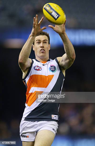 Jeremy Cameron of the Giants marks the ball during the round seven AFL match between the Carlton Blues and the Greater Western Sydney Giants at...