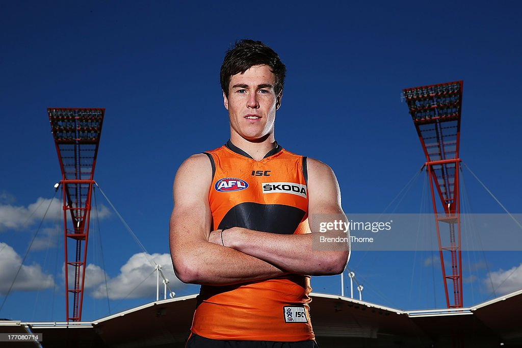 Jeremy Cameron of the Giants poses during a Greater Western Sydney Giants AFL media session at Skoda Stadium on August 21 2013 in Sydney Australia