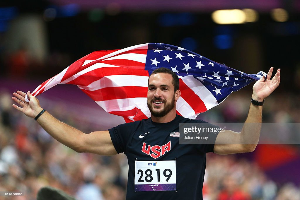 Jeremy Campbell of the United States celebrates winning gold in the Men's Discus Throw - F44 Final on day 8 of the London 2012 Paralympic Games at Olympic Stadium on September 6, 2012 in London, England.