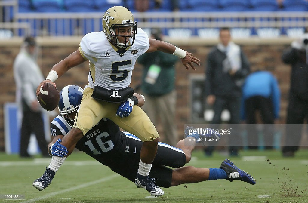 Jeremy Cash of the Duke Blue Devils sacks Justin Thomas of the Georgia Tech Yellow Jackets during their game at Wallace Wade Stadium on September 26...