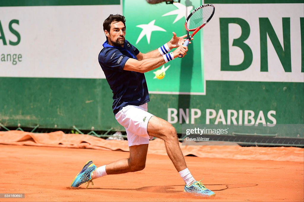 Jeremy Chardy during the Men's Singles second round on day four of the French Open 2016 at Roland Garros on May 25, 2016 in Paris, France.