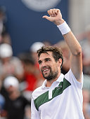 Jeremy Chardy of France acknowledges the fans after defeating John Isner of the USA during day five of the Rogers Cup at Uniprix Stadium on August 14...