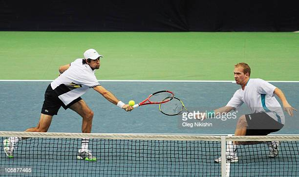 Jeremy Chardy of France and Lukas Dlouhy of Czech Republic in action against Pablo Cuevas of Uruguay and Michael Russell of USA during the XXI...