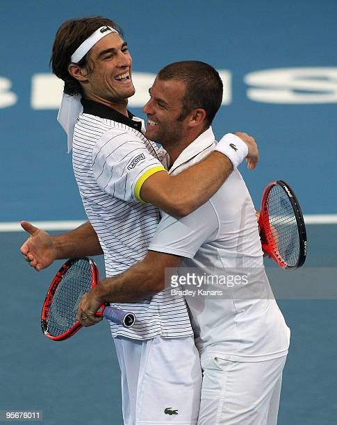 Jeremy Chardy of France and Marcus Gicquel of France celebrate victory after their final against Lucas Dlouhy of the Czech Republic and Leander Paes...