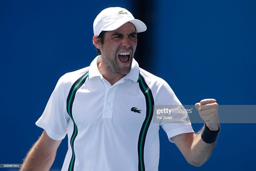 Jeremy Chardy of France celebrates in his first round match against Ernests Gulbis of Latvia during day two of the 2016 Australian Open at Melbourne Park on January 19, 2016 in Melbourne, Australia.