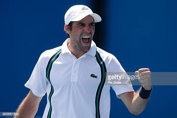 Jeremy Chardy of France celebrates in his first round match against Ernests Gulbis of Latvia during day two of the 2016 Australian Open at Melbourne...