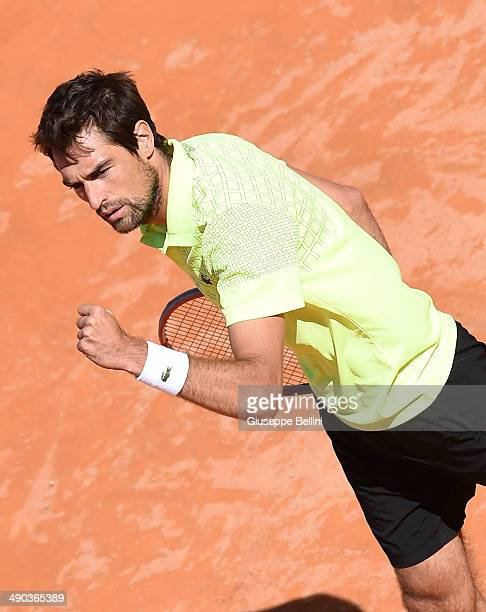 Jeremy Chardy of France celebrates the victory after his match against Roger Federer of Switzerland during day 4 of the Internazionali BNL d'Italia...