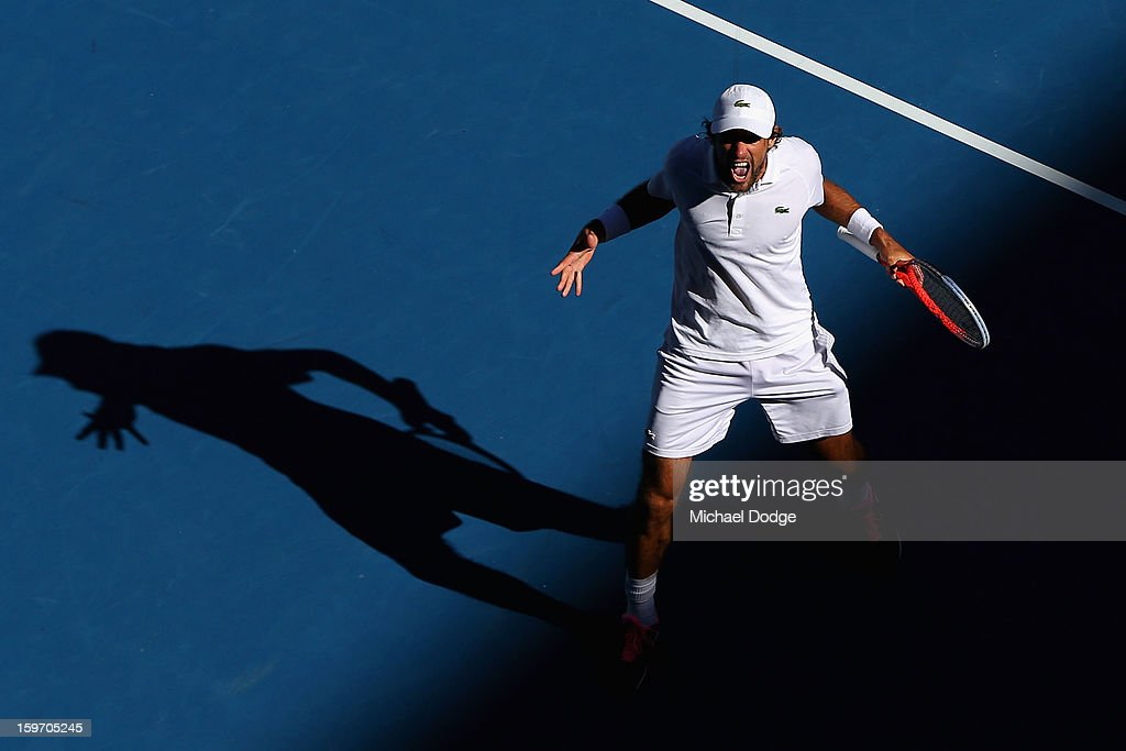 Jeremy Chardy of France celebrates winning his third round match against Juan Martin Del Potro of Argentina during day six of the 2013 Australian Open at Melbourne Park on January 19, 2013 in Melbourne, Australia.