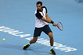 Jeremy Chardy of France competes against Alexander Zverev of Germany during the 2015 ATP Malaysian Open at Bukit Jalil National Stadium on September...