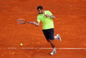 Jeremy Chardy of France in action against David Ferrer of Spain during day three of the ATP Monte Carlo Rolex Masters Tennis at MonteCarlo Sporting...