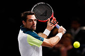 Jeremy Chardy of France in action against Kei Nishikori of Japan during Day 3 of the BNP Paribas Masters held at AccorHotels Arena on November 4 2015...