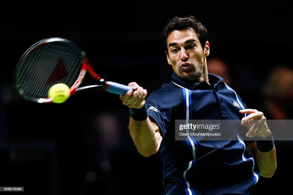 <a gi-track='captionPersonalityLinkClicked' href=/galleries/search?phrase=Jeremy+Chardy&family=editorial&specificpeople=599085 ng-click='$event.stopPropagation()'>Jeremy Chardy</a> of France in action against Nicolas Mahut of France during day 4 of the ABN AMRO World Tennis Tournament held at Ahoy Rotterdam on February 11, 2016 in Rotterdam, Netherlands.
