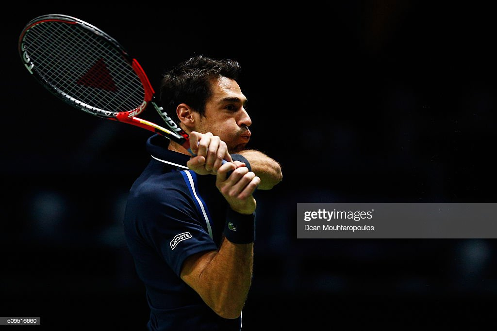 Jeremy Chardy of France in action against Nicolas Mahut of France during day 4 of the ABN AMRO World Tennis Tournament held at Ahoy Rotterdam on February 11, 2016 in Rotterdam, Netherlands.