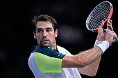 Jeremy Chardy of France in action during his Men's second round match against Kei Nishikori of Japan on day three of the BNP Paribas Masters at...