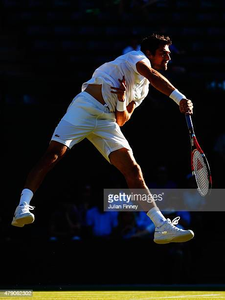 Jeremy Chardy of France in action in his Gentlemens Singles first round match against Tomas Berdych of Czech Republic during day two of the Wimbledon...