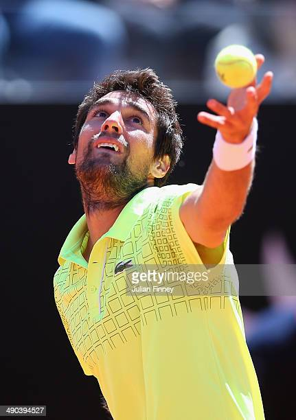 Jeremy Chardy of France in action in his match against Roger Federer of Switzerland during day four of the Internazionali BNL d'Italia tennis 2014 on...