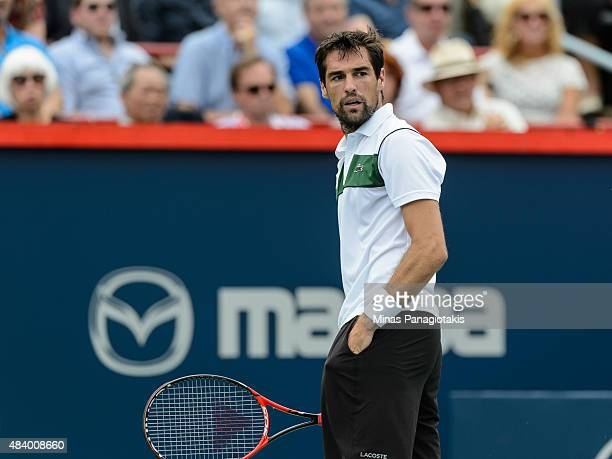 Jeremy Chardy of France looks on in his match against John Isner of the USA during day five of the Rogers Cup at Uniprix Stadium on August 14 2015 in...