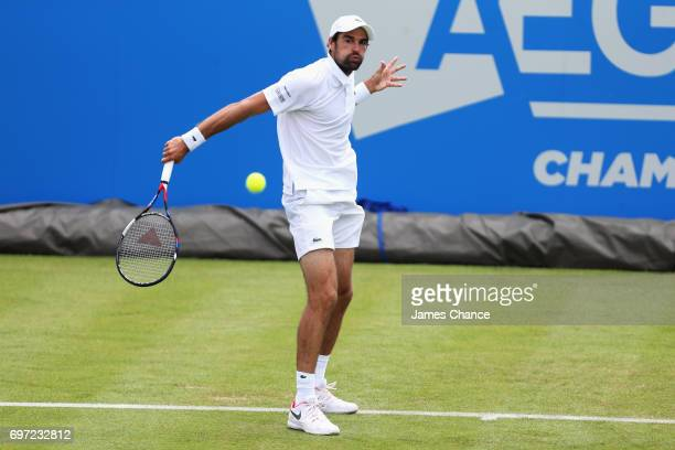 Jeremy Chardy of France plays a backhand shot during the qualifying match against Jordan Thompson of Australia ahead of the Aegon Championships at...