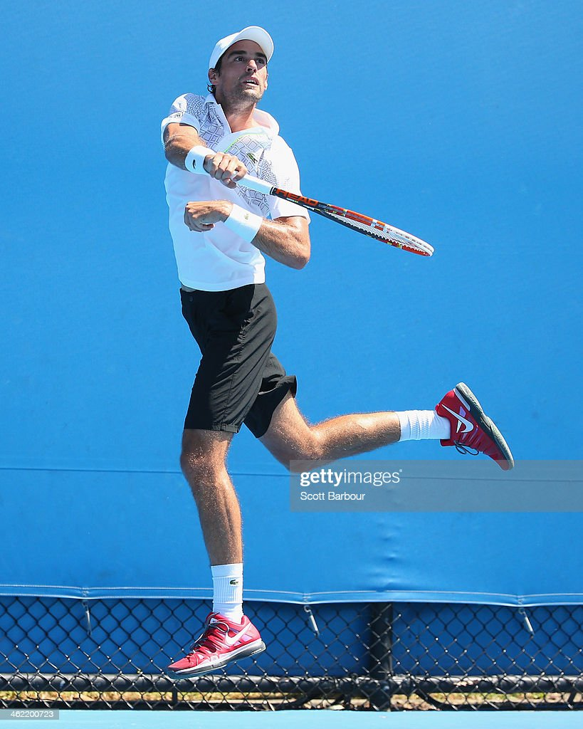 Jeremy Chardy of France plays a forehand in his first round match against Jesse Huta Galung of the Netherlands during day one of the 2014 Australian Open at Melbourne Park on January 13, 2014 in Melbourne, Australia.