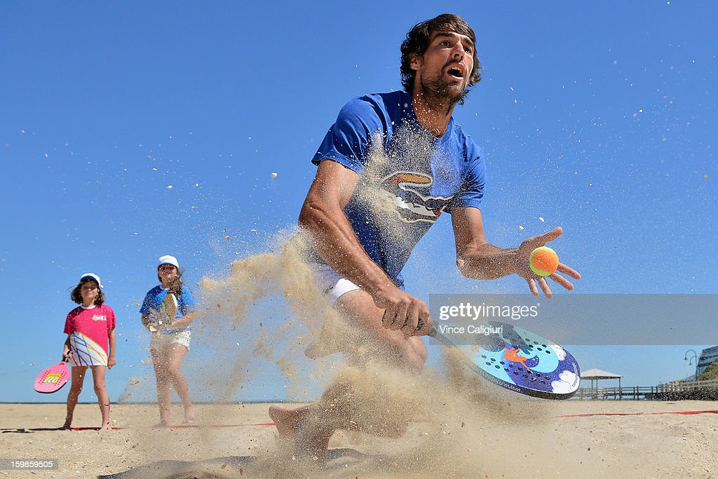 <a gi-track='captionPersonalityLinkClicked' href=/galleries/search?phrase=Jeremy+Chardy&family=editorial&specificpeople=599085 ng-click='$event.stopPropagation()'>Jeremy Chardy</a> of France plays beach tennis on Port Melbourne Beach during day nine of the 2013 Australian Open on January 22, 2013 in Melbourne, Australia.