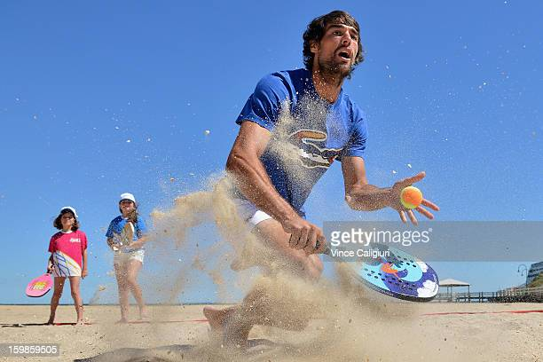 Jeremy Chardy of France plays beach tennis on Port Melbourne Beach during day nine of the 2013 Australian Open on January 22 2013 in Melbourne...