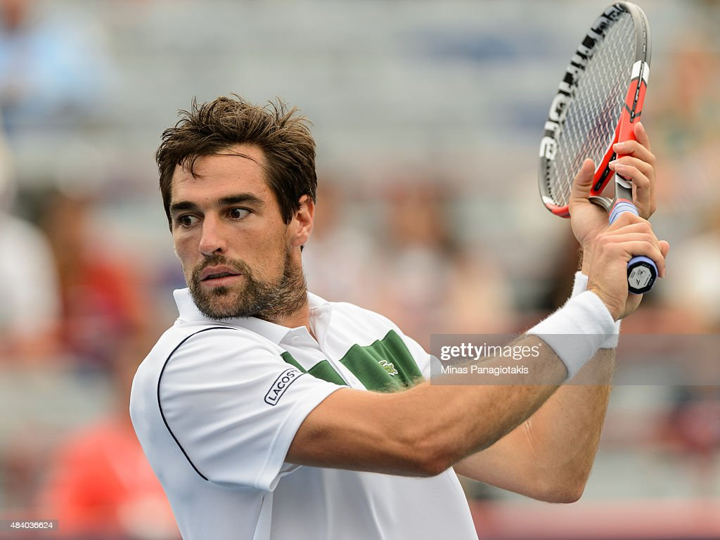 Jeremy Chardy of France prepares to hit the ball against John Isner of the USA during day five of the Rogers Cup at Uniprix Stadium on August 14, 2015 in Montreal, Quebec, Canada.