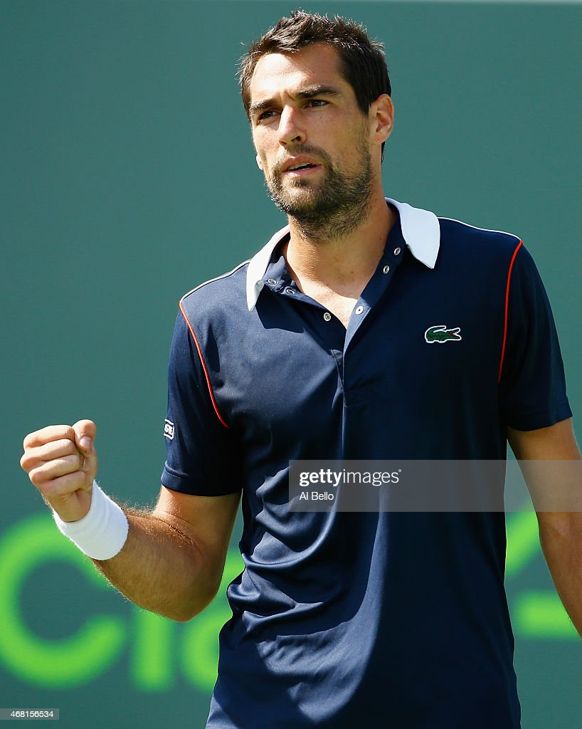 Jeremy Chardy of France reacts afte rwinning the second set against against Milos Raonic of Canada during day 8 of the Miami Open at Crandon Park Tennis Center on March 30, 2015 in Key Biscayne, Florida.