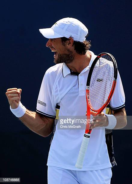 Jeremy Chardy of France reacts after a point Ernests Gulbis of Latvia during his men's singles first round match on day two of the 2010 US Open at...