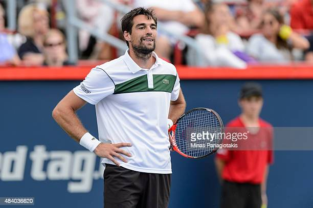 Jeremy Chardy of France reacts after loosing a point against John Isner of the USA during day five of the Rogers Cup at Uniprix Stadium on August 14...