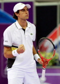 Jeremy Chardy of France reacts during day two of the International Tennis Tournamen St Petersburg Open 2010 match against Mikhail Kukushkin of...